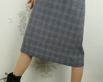 VINTAGE PLAID SKIRT 1950s Blue Size Extra Small