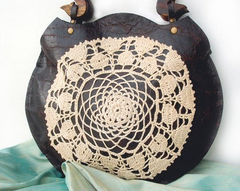 Boho Round Leather Purse with Vintage Crochet Doily and Wooden Handles - Antique Heart Key Zipper Pull