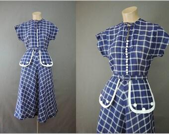 Vintage 1940s Blue Cotton Dress, fits 34 bust, Plaid Day Dress, a-line skirt