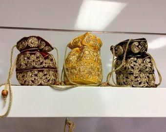 Indian potli bag Bollywood style party bag handmade with Zari embroider