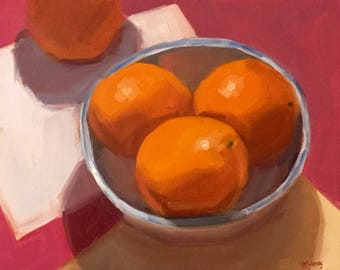 Oranges on Pink- Original Oil Painting on 8x10 inch canvas