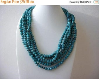 ON SALE Vintage HONG Kong Multi Strand Turquoise Molded Pressed Plastic Beads Necklace 91417