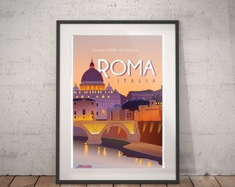 rome, rome travel poster, wall decor, vintage