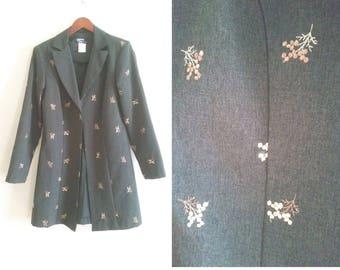 grey blazer asian inspired vintage blazer, floral blazer embroidered dress coat oriental inspired embroidery long coat, women's medium