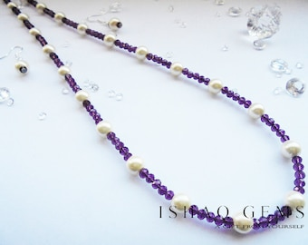 Purple Crystals and Ivory Pearl Necklace and Earrings Set Women's Gifts for Her