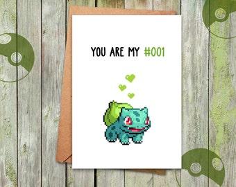 Valentine, Valentine Card Pokemon, Bulbasaur Card, Valentine's Love, Bulbasaur Planter, Pokemon Planter, Bulbasaur Pot, Valentines Day, Vday