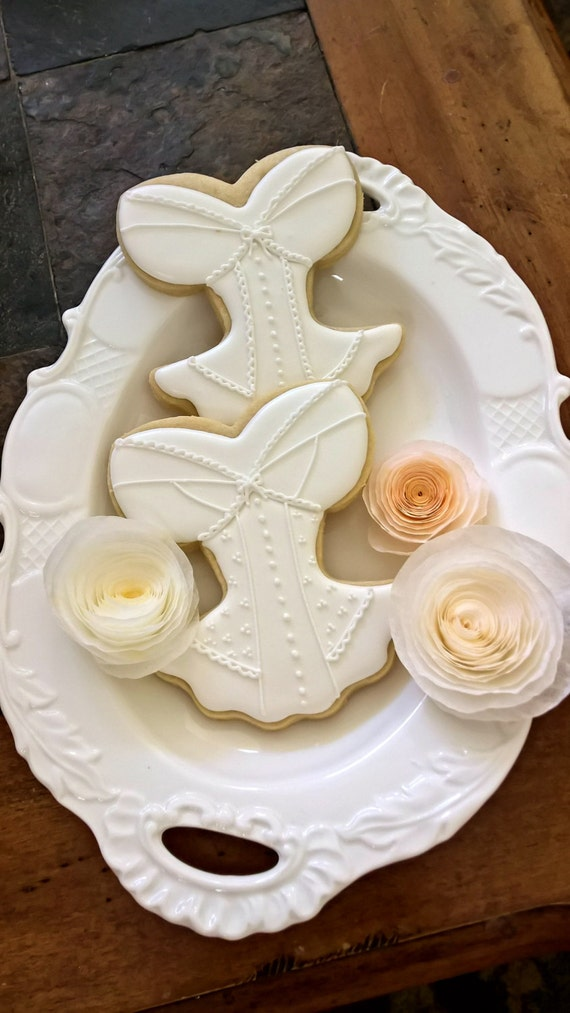 White on White Corset, Lingerie Bridal Shower Cookie Favors - 12 Pcs, Wedding Cookies,  Bridal Shower Cookies