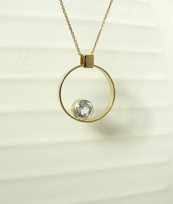 White topaz gold circle pendant helium he topaz 14k yellow te gusta este artculo aloadofball Choice Image