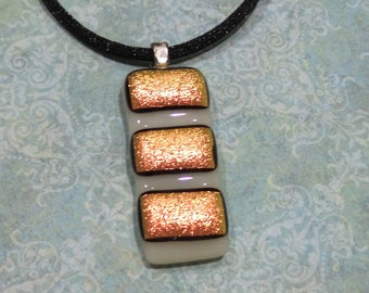 Dichroic Orange, Fused Glass Pendant, Autumn, Halloween Jewelry, Ready to Ship, Handmade Jewelry - The Third Times the Charm - 2650 -2
