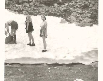 """Vintage Snapshot """"Melting Ice Caps"""" Hikers Backpacks Found Vernacular Photo Snowy Mountains"""