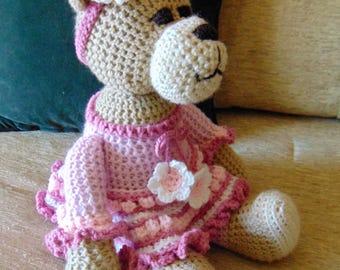 """Crocheted teddy bear stuffed animal doll toy """"Isabel"""""""