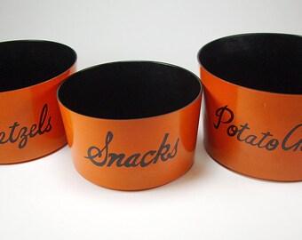 Vintage Stackable Snack Bowl Trio Set, Orange and Black, Pretzels, Snacks and Chips, Nesting Snack Dish Set, Halloween Decor