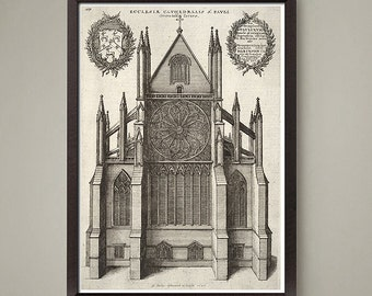 2 Set Classic Gothic Architecture art prints. Gothic Church Cathedrals. Nice home or office decor.  Size 8 x10 inch.