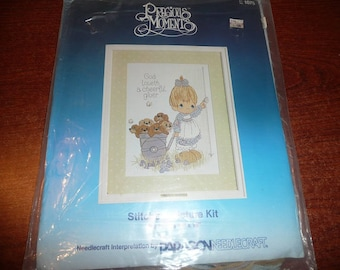 Vintage Paragon Precious Moments Stitchery Kit God Loveth A Cheerful Giver