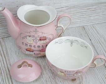 Tea for One Collectors Ceramic Teapot & Mug Pink China Cupcakes Tea lovers TF042