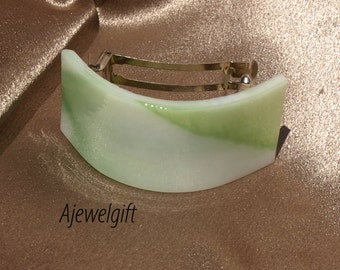 Spring Green Fused Glass Pony Tail Barrette