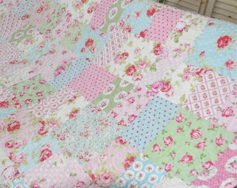Quilt Twin Size Shabby Decor Floral Aqua Light Blue Pink White Green Tanya Whelan Fabric with Roses Blanket Throw MADE TO ORDER