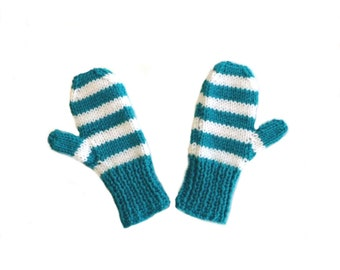 Children's Teal & White Stripe Knit Mittens, Child Size 4, Handmade by Knight Family Knits