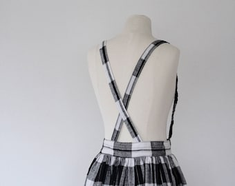 Suspender Skirt, Plaid Pinafore Skirt, Buffalo Plaid Skirt, Pinafore Dress, Black and White Plaid Skirt, Mary Jane Skirt, Pockets Full Sweep