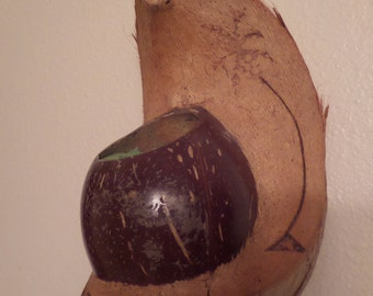 Vintage Decorative Hawaii coconut wall planter