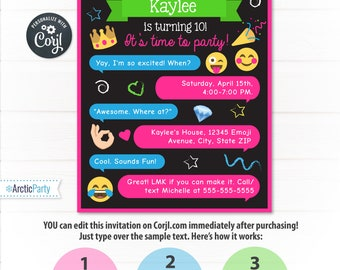 Emoji Invitations - Emoji Party Invitations - Emoji Birthday - Emoji Themed Party - INSTANT DOWNLO - Edit NOW from home using Corjl.com!