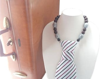 I MEAN BUSINESS tie candee striped necktie necklace burgundy tie trending feminine tie statement necklace ladies necktie corbata collar