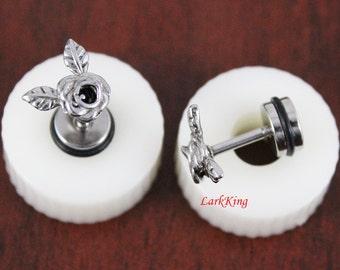 Rose stud earrings; rose earrings; rose studs;  stainless steel stud earrings, cute stud earrings, girl earrings, trendy earrings, SE3062