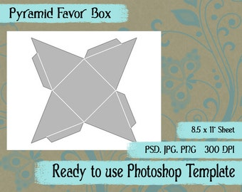 Party Favor Bag Digital Collage Photoshop Template Pyramid Favor Box