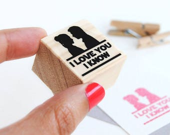 I love you I know stamp, Han Solo and Leia, Wedding Stationery, Star Wars themed wedding, geeky stamp, i love you i know couple gift idea