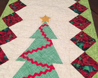 Quilted, table runner , Christmas, trees