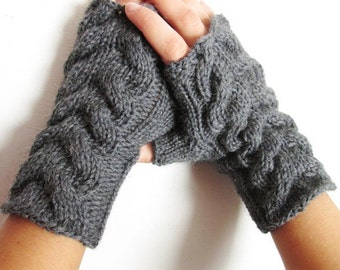 READY TO SHIP, Fingerless Gloves, Hand knitted Cabled Fingerless Gloves arm Warmers, Knitted Dark Gray Fingerless arm Warmers