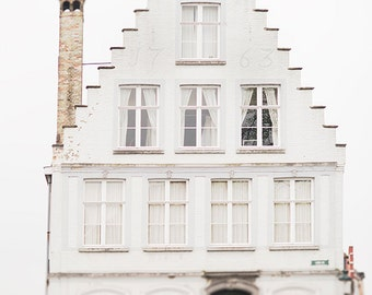 Europe Travel Photography - White House in Bruges, Architecture Photo, Travel Fine Art Photograph, Wall Decor, Large Wall Art