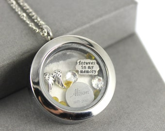 Cremation jewelry etsy stainless steel cremation urn engraved floating locket charm memory locket necklace cremation jewelry memorial jewellery ashes pendant aloadofball Images
