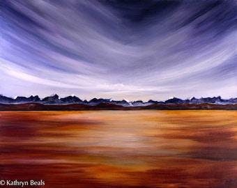 Prairie Sunrise Landscape Painting - Surreal Landscape Canvas Print