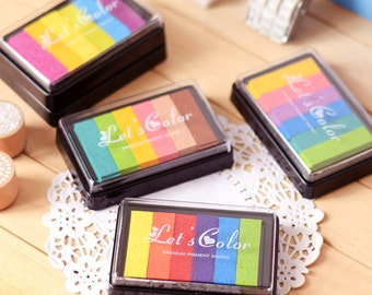 6 colors Ink Pad, Rainbow Ink Pad