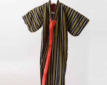 kimono child japanese vintage Stripe Hanten Jacket 30~40s Antique hand sewn 綿入れ半纏 レトロ 縞模様 ジャパン ヴィンテージ 30~40年代