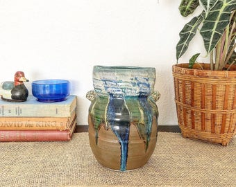 Vintage Blue Green Copper Drip Glaze Pottery Vase