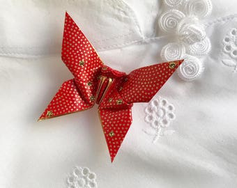 Origami Butterfly Pin (red, gold dot)