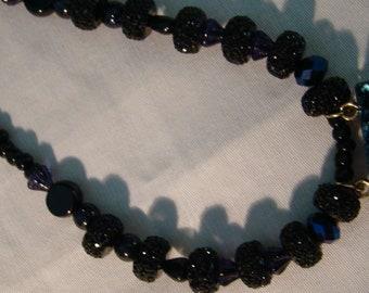 Blue geo , black glass beads