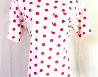 vtg 80s Croquet Club retro White Red Oversized Pocket T-Shirt Shoulder Pads M