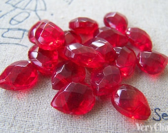 Red Briolette Acrylic Faceted Drop Beads 9x12mm Set of 10 pcs A2707
