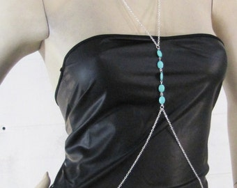 Silver Chain Crossover Body Harness w/ Blue Turquoise Gem Bead Accents - Long Bikini Necklace Waist Belt Full Body Jewelry Punk Rock Armour