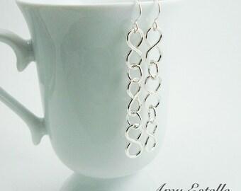 Silver Infinity Earrings, Long Dangle Earrings, Handmade Earrings - READY TO SHIP