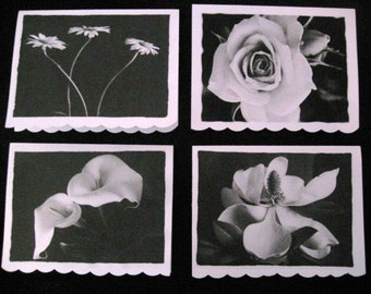 Black and white stationery flowers set 1