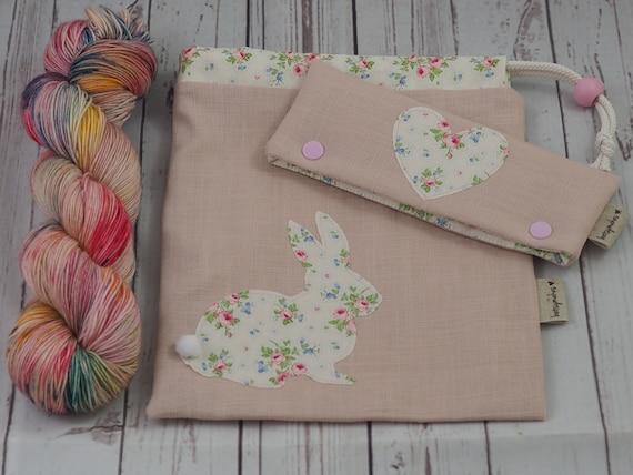 Applique Bunny Sock Knitting Set in Pretty Bouquet