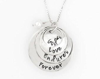 God's Love Endures Forever Sterling Silver Hand-Stamped Necklace