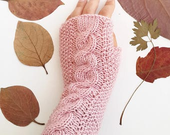 Cable knit gloves - Pink gloves Fingerless gloves Fingerless mittens Womens gloves Knit wrist warmer Christmas gift ideas Gift under 30