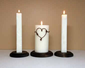"""Unity Candle  Set and Stand / Holder for Weddings Ceremony - 6"""" Tall"""