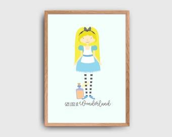 Disney Alice In Wonderland Get Lost In Wonderland Children's Wall Art Printable: INSTANT DOWNLOAD