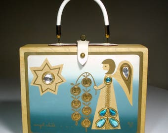 """Vintage 1965 Enid Collins Box Bag - Collins of Texas - Mid-Century """"Original Box Bag"""" Wooden Purse - """"Angel Chile"""" - LAYAWAY Available"""